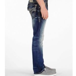Rock Revival Jean Bob Straight Leg Distress 34x26
